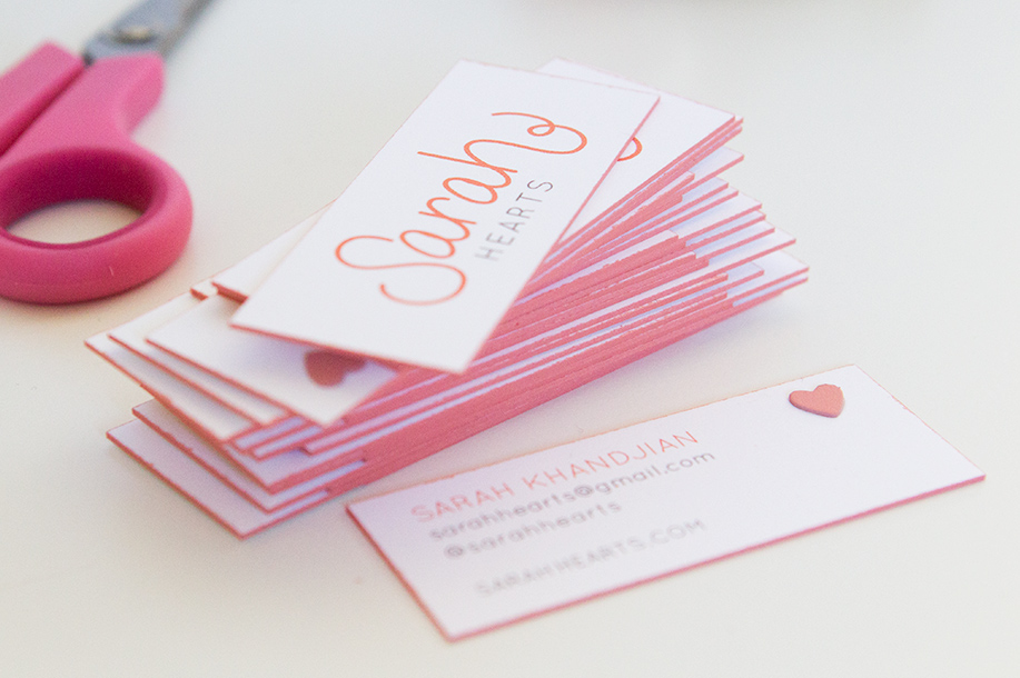 DIY Colored Edge Business Cards - Sarah Hearts