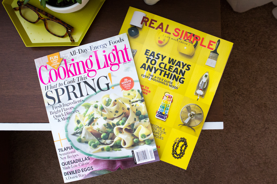 The April 2014 issues of Cooking Light and Real Simple are full of great spring recipes and organization tips!