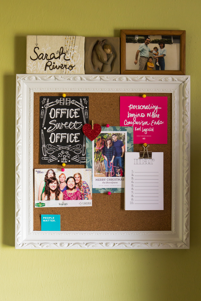A cork board in a craft room makes a great inspiration board.