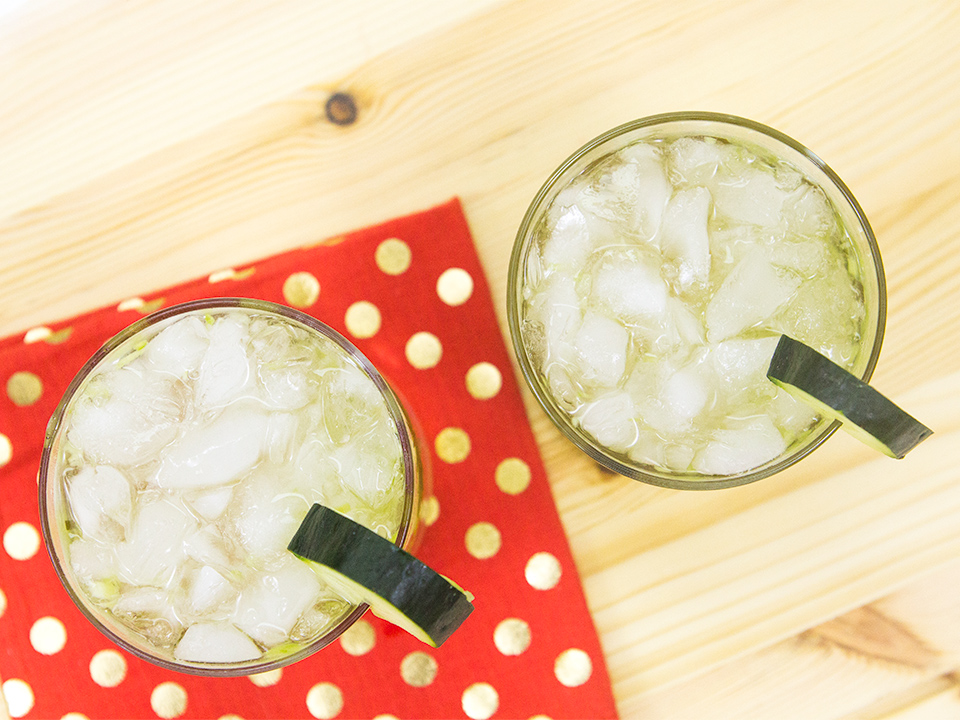 This cucumber cocktail combines all my favorites: gin, St. Germain, and coconut rum!