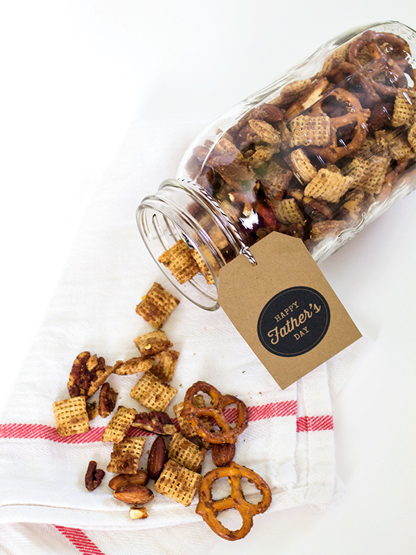 Make dad this sweet and savory snack mix for Father's Day. Then print out the free gift tags and tie them around a mason jar for an easy and thoughtful gift.