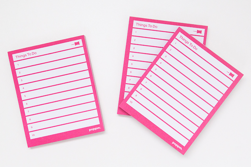 Keep your to-do list under wraps with this pink task pad by Poppin.