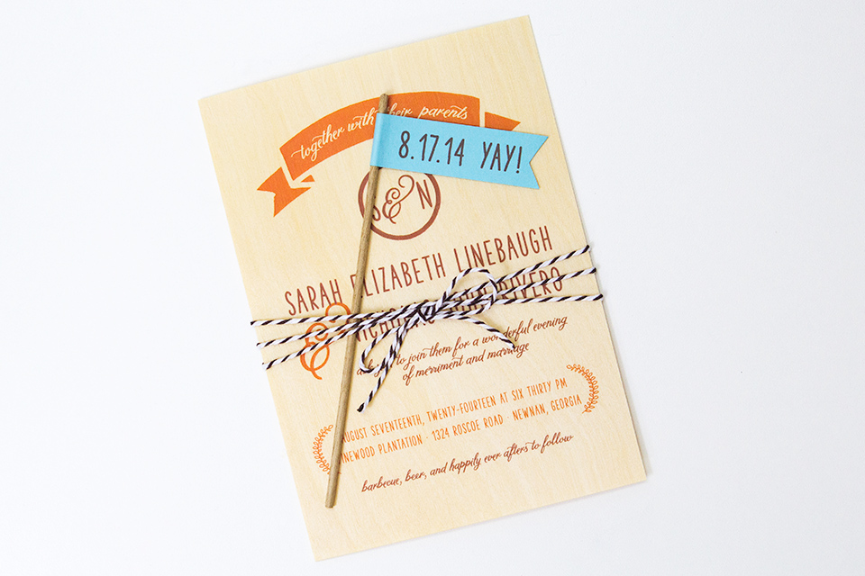 These birch wood invitations would be perfect for an outdoor, rustic wedding.