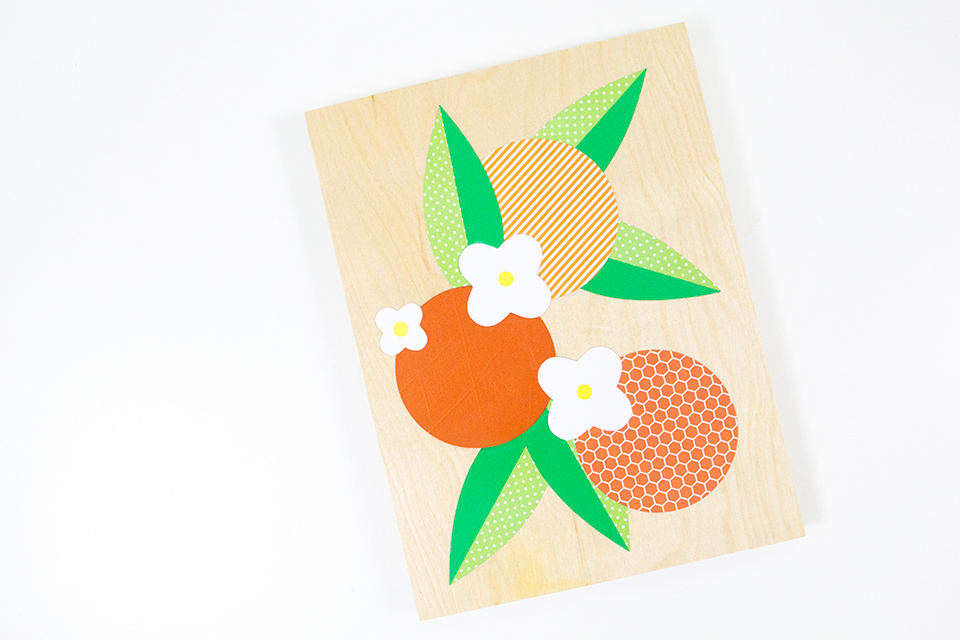 Live in Florida of California? Then show a little love for those oranges with this fun paper cut collage. Video tutorial includes PDF and SVG templates so you can even use a Silhouette or Cricut Explore to cut out the shapes.