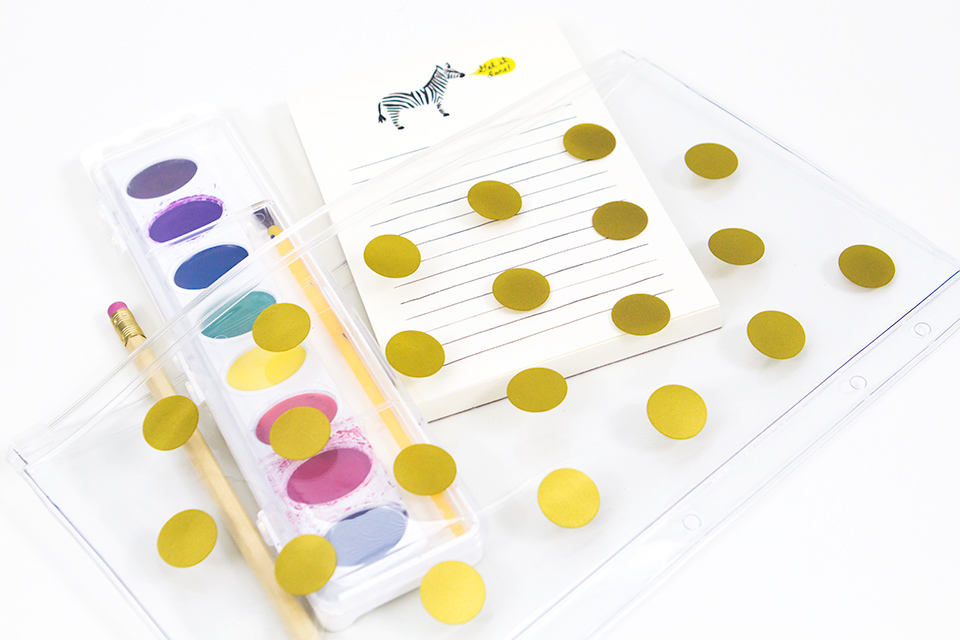 Head back to school in style with this simple DIY gold polka dot pencil case.