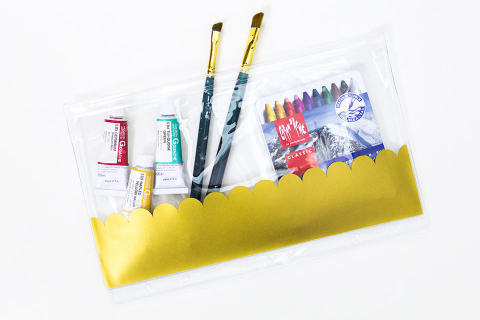 Dress up plain school supplies with some gold vinyl and your Silhouette or Cricut Explore. (Click through for free SVG file)