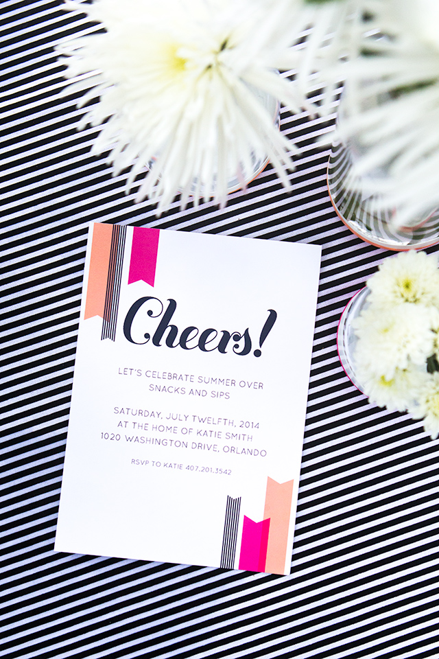 """Host a fun summer party and use these free printable """"Cheers!"""" invitations. Template available in Word, Pages, and PDF formats."""