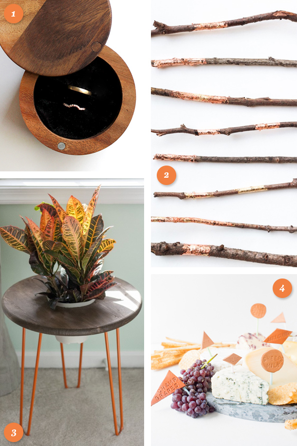 Loving the mix of coppery metallics with natural materials like wood and leather in this fall inspired DIY projects. Click through for links to each project.