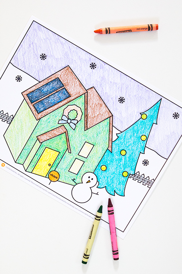 Download this festive printable coloring page created by Sarah Hearts for Vivint.