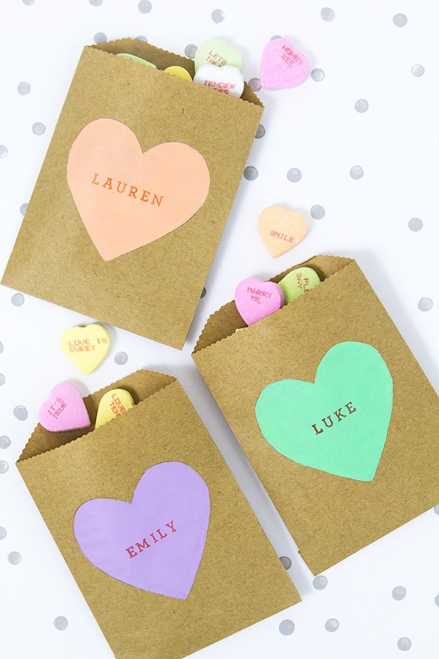 These conversation heart treat bags are perfect for stashing candy or even Valentine's Day cards.