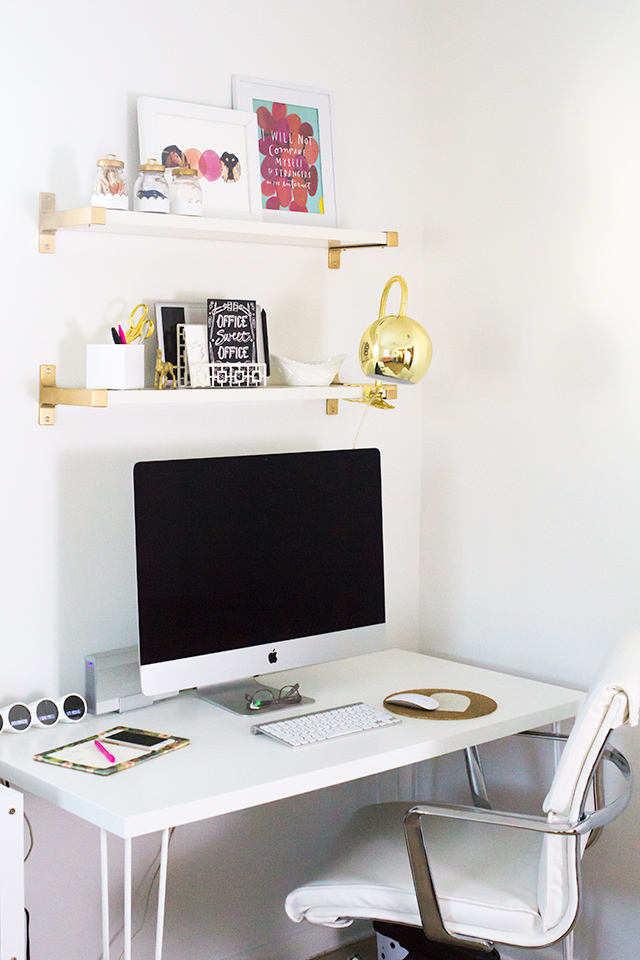 Take a peek inside Sarah Hearts' home office. It's filled with tons of gold details.