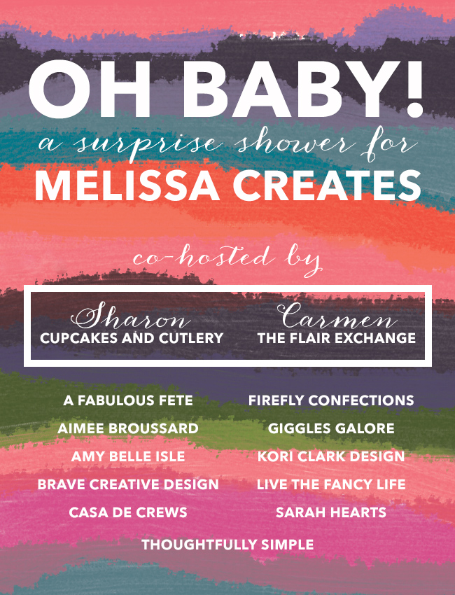 Bloggers are hosting an online baby shower for Melissa Creates. Click though for baby shower DIYs, printables and recipes!