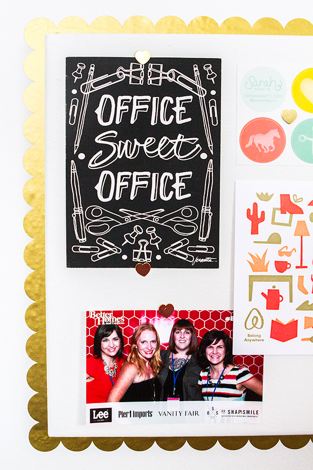 Office sweet office! Make your office a bit more personal by creating these DIY scalloped edge cork boards.