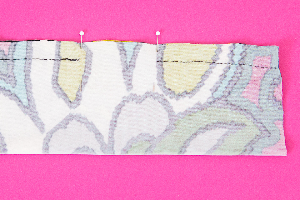 Step 1: fold the fabric in half length wise and sew together leaving a 1 inch gap.