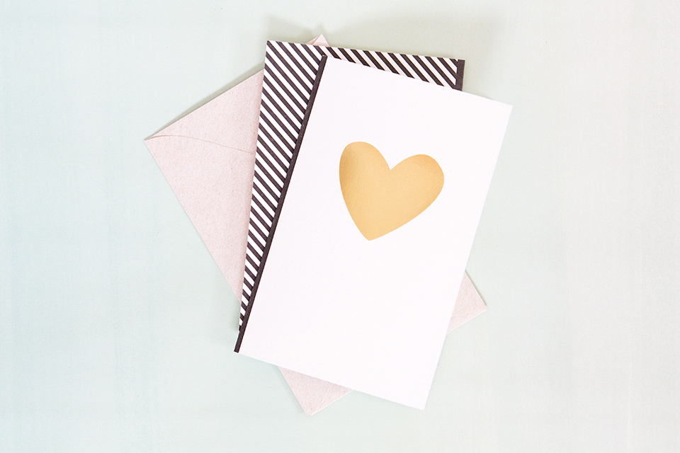 You have a heart of gold. Love this letterpressed and gold foil card from Smock Paper.