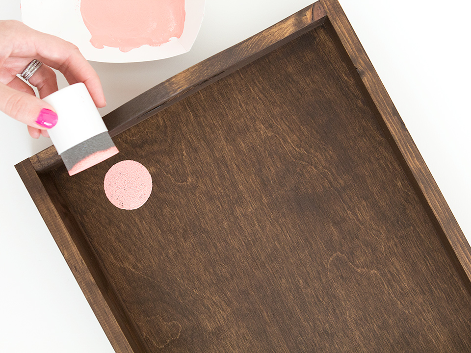 A foam pouncer creates perfectly round circles without having to use a stencil or paint brush.