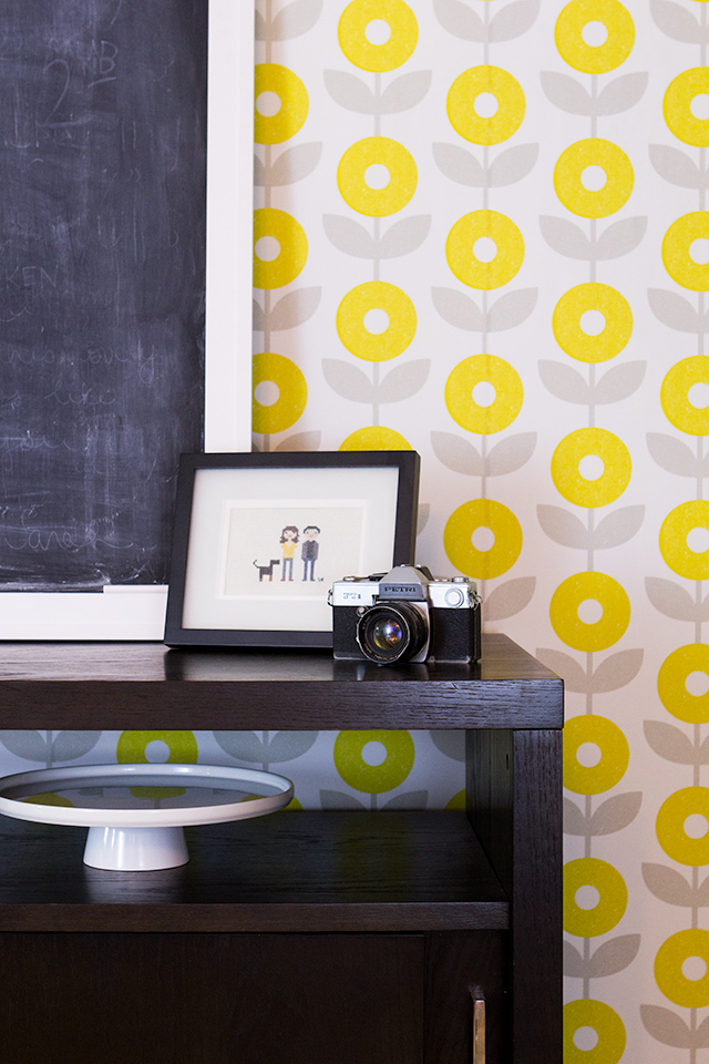 This fun modern floral wallpaper would be perfect in a dining room, nursery, or even an foyer.