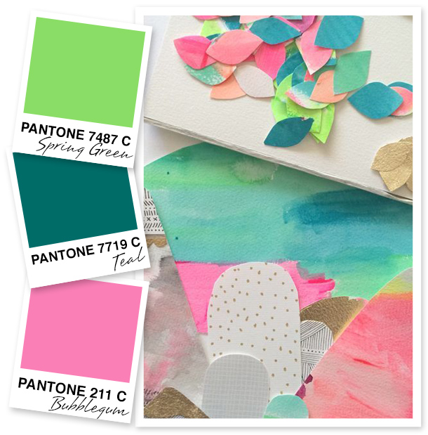 Don't these colors just make you want to pick up the nearest pair of scissors and  start crafting? This unique pairing of springy green, teal, and bubblegum is something I've never thought to try before!