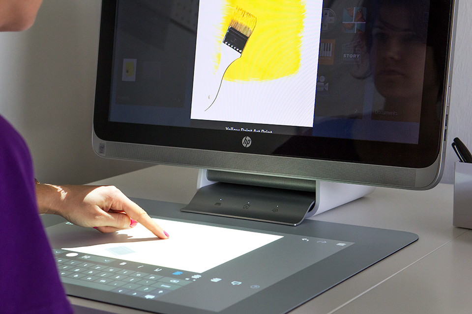 Use the touch mat to create and preview your artwork on the display above using the new Sprout by HP