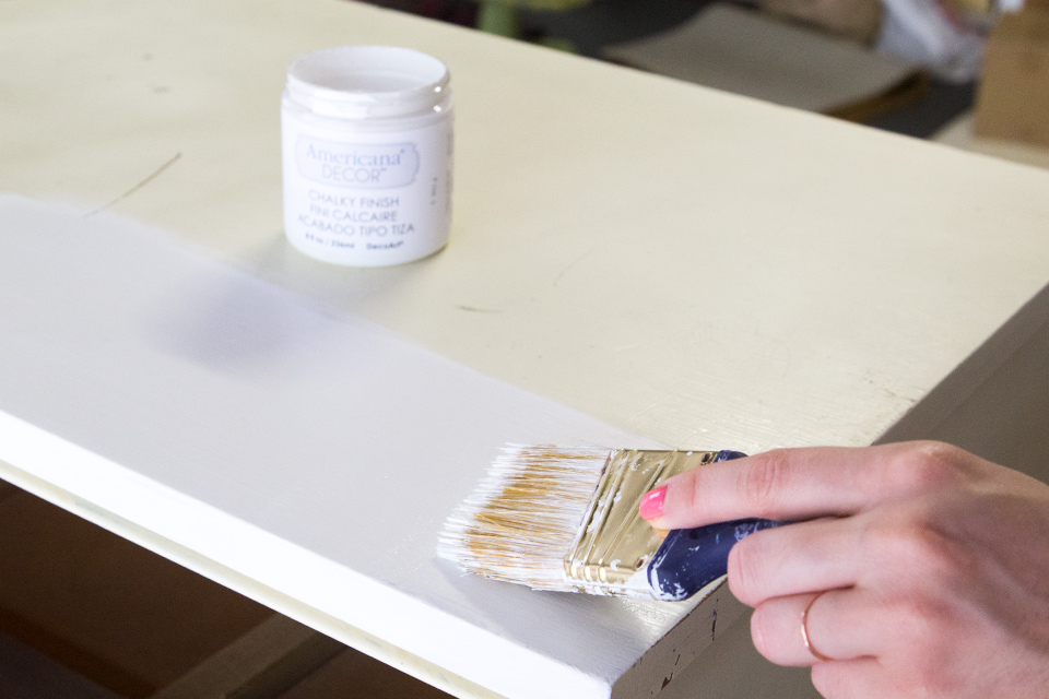 DecoArt Chalky Finish paint makes it so easy to transform a gargle sale find into a stylish piece.
