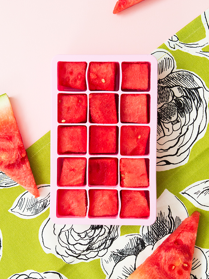 Getting ready for Memorial Day (and the official start of summer) by making watermelon ice cubes! Just cut seedless watermelon into 1-inch cubes, place in an ice cube tray and freeze until you're ready to use them.