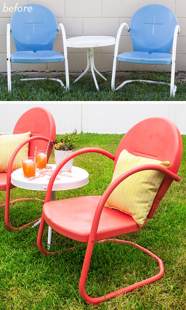 Love this retro patio set before and after! Click through for the how-to.