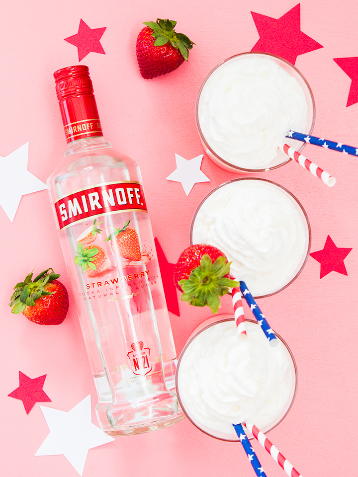 Smirnoff Strawberry pairs so well with fresh strawberries and whipped cream! Try this Italian soda punch for a sweet treat at your next party.