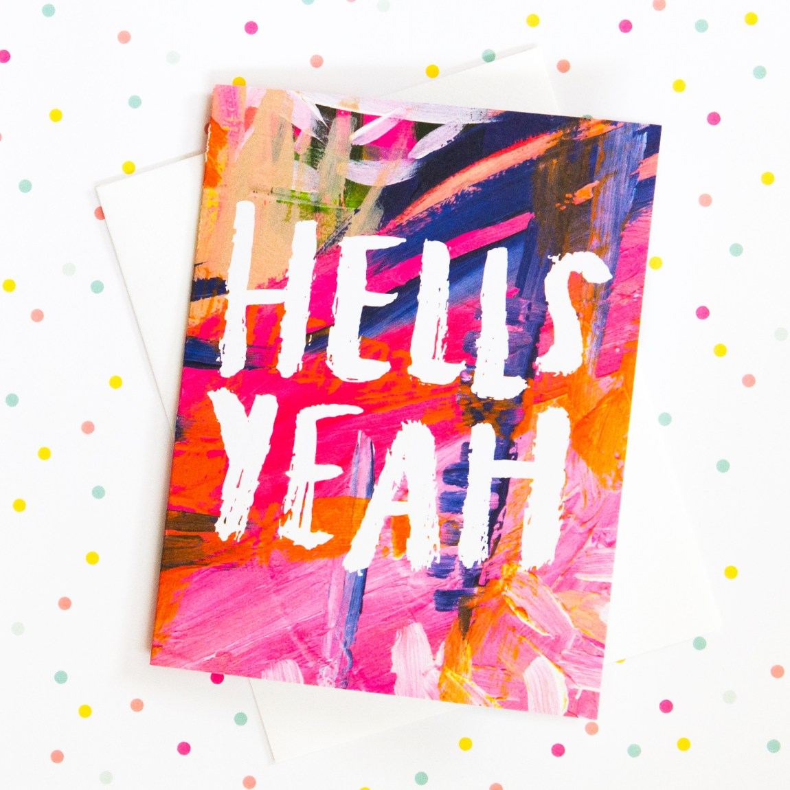 Hells Yeah notecard by Thimblepress X The Glitter Guide