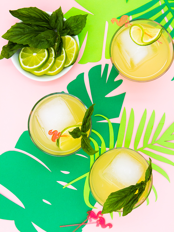 This tropical basil punch looks so delicious! Cannot wait to try it this summer (click through for recipe)