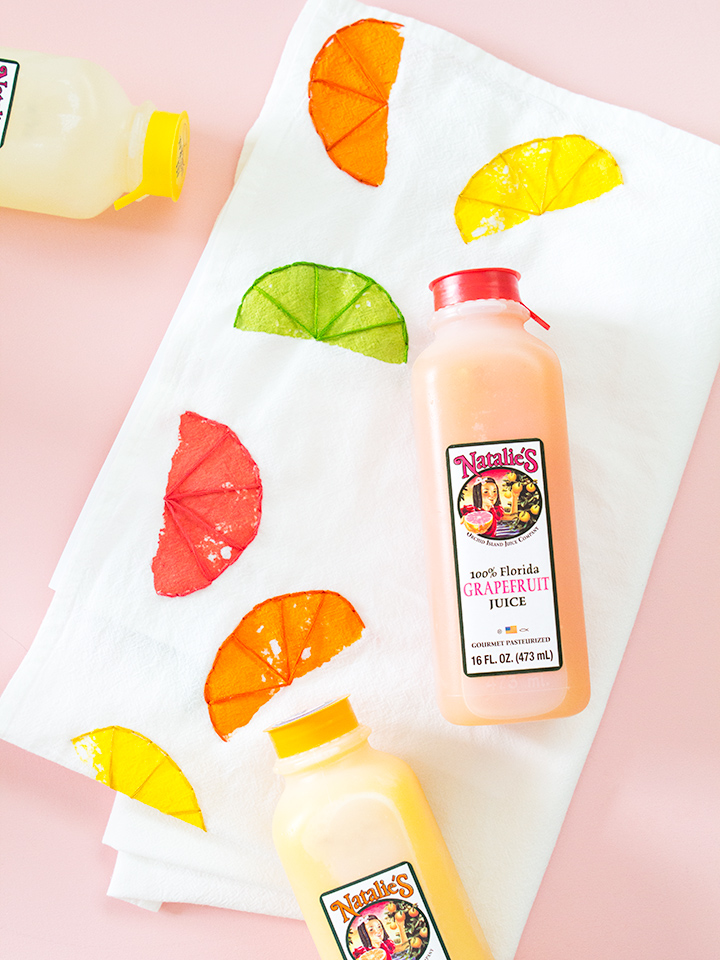Natalie's fresh squeezed juices are as delicious as this DIY tea towel! Click through to learn how to make it.