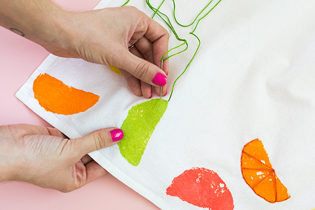 A simple straight stitch is all you need to know to create these adorable citrus towels.