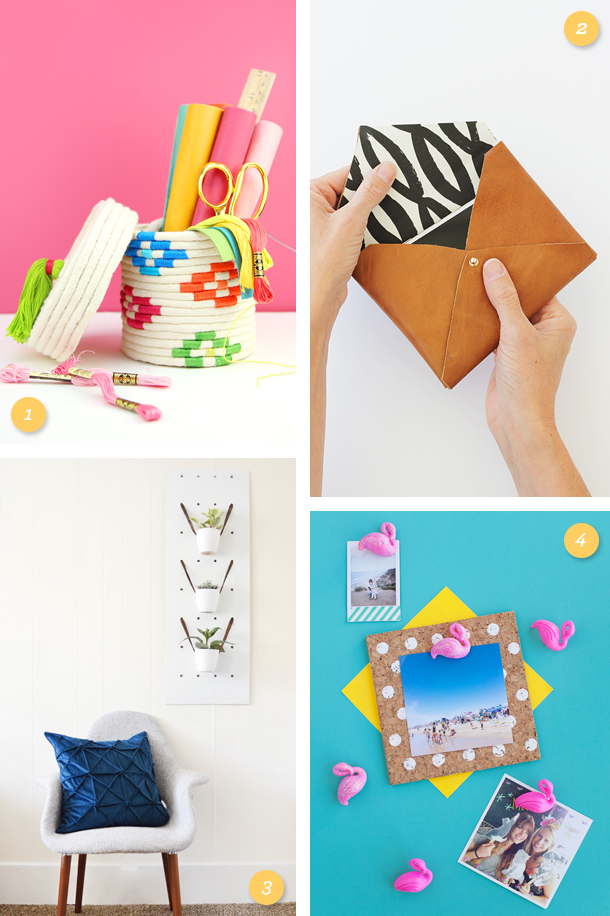 Loving these fun, bright and modern home and office DIY projects. Click through for links to each one.