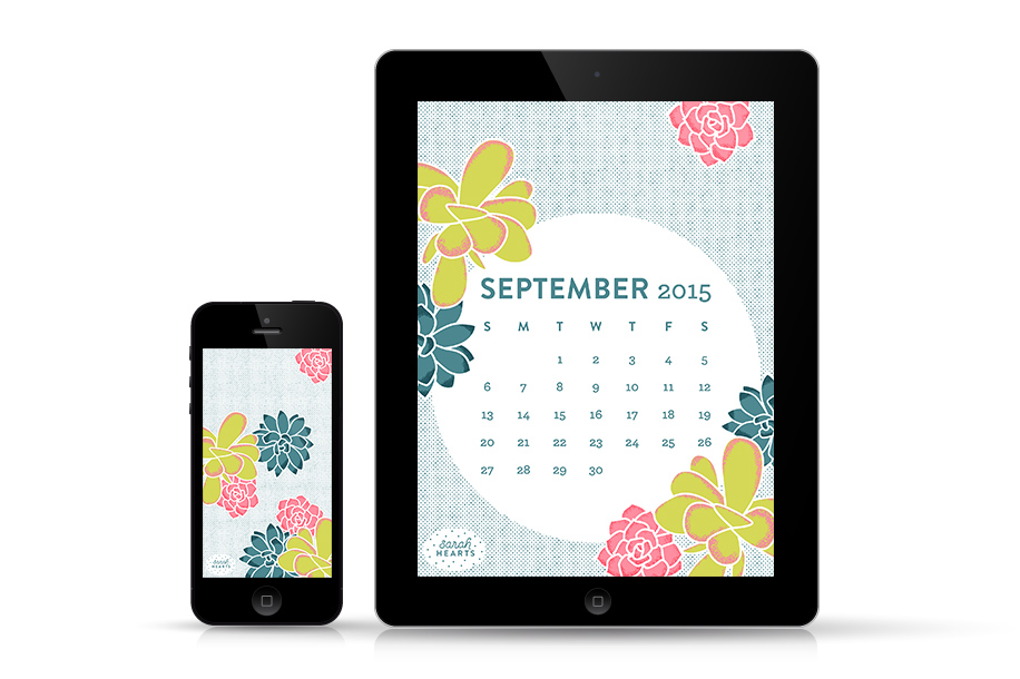 Add some succulents to your phone or tablet with this free September 2015 calendar wallpaper by Sarah Hearts. Also available without the calendar and with an inspiring quote!