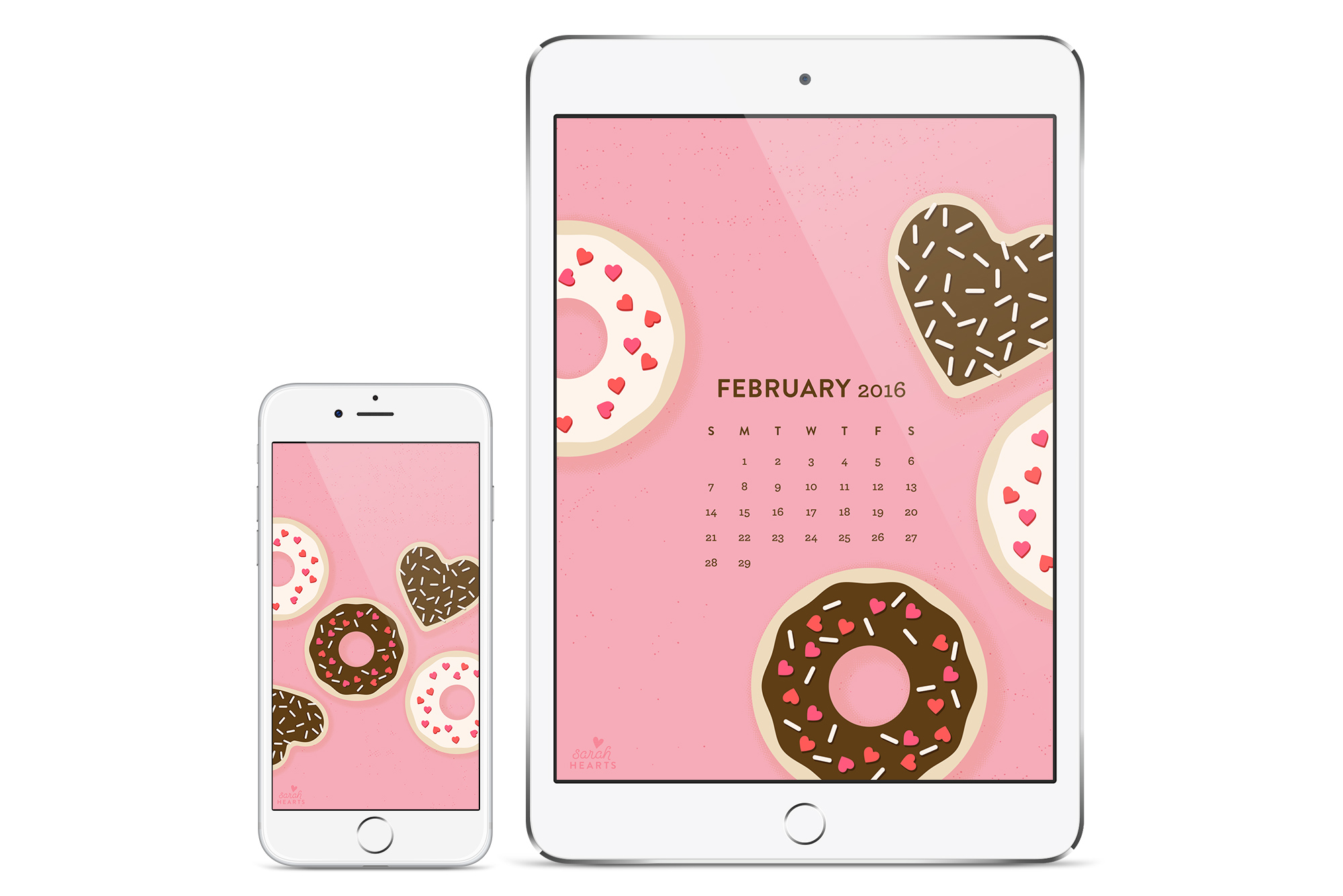 Add some sweets to your phone, tablet or computer with this free wallpaper! (Click through to download in all sizes and with a calendar)