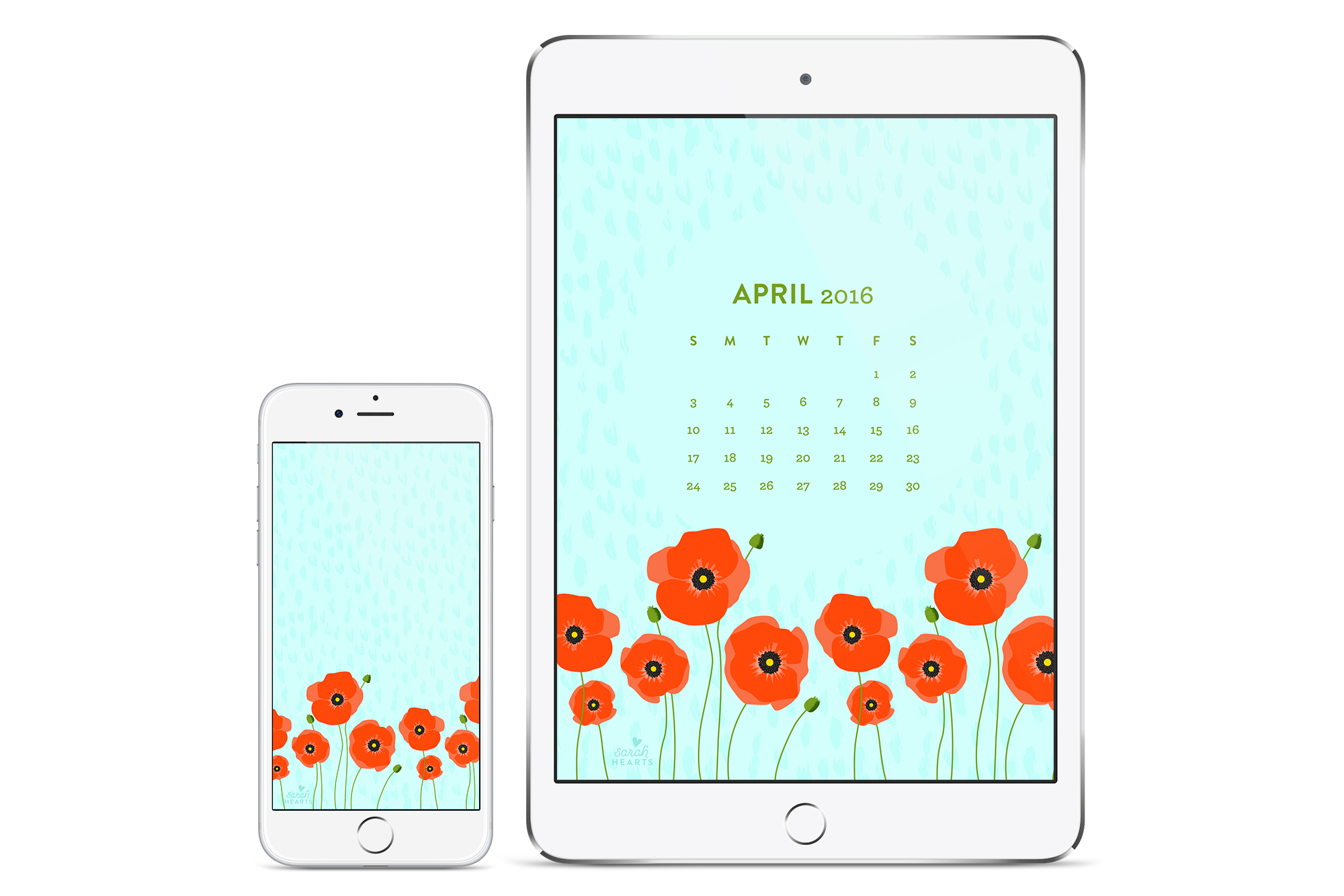Calendar Wallpaper April Iphone : April poppy calendar wallpaper sarah hearts