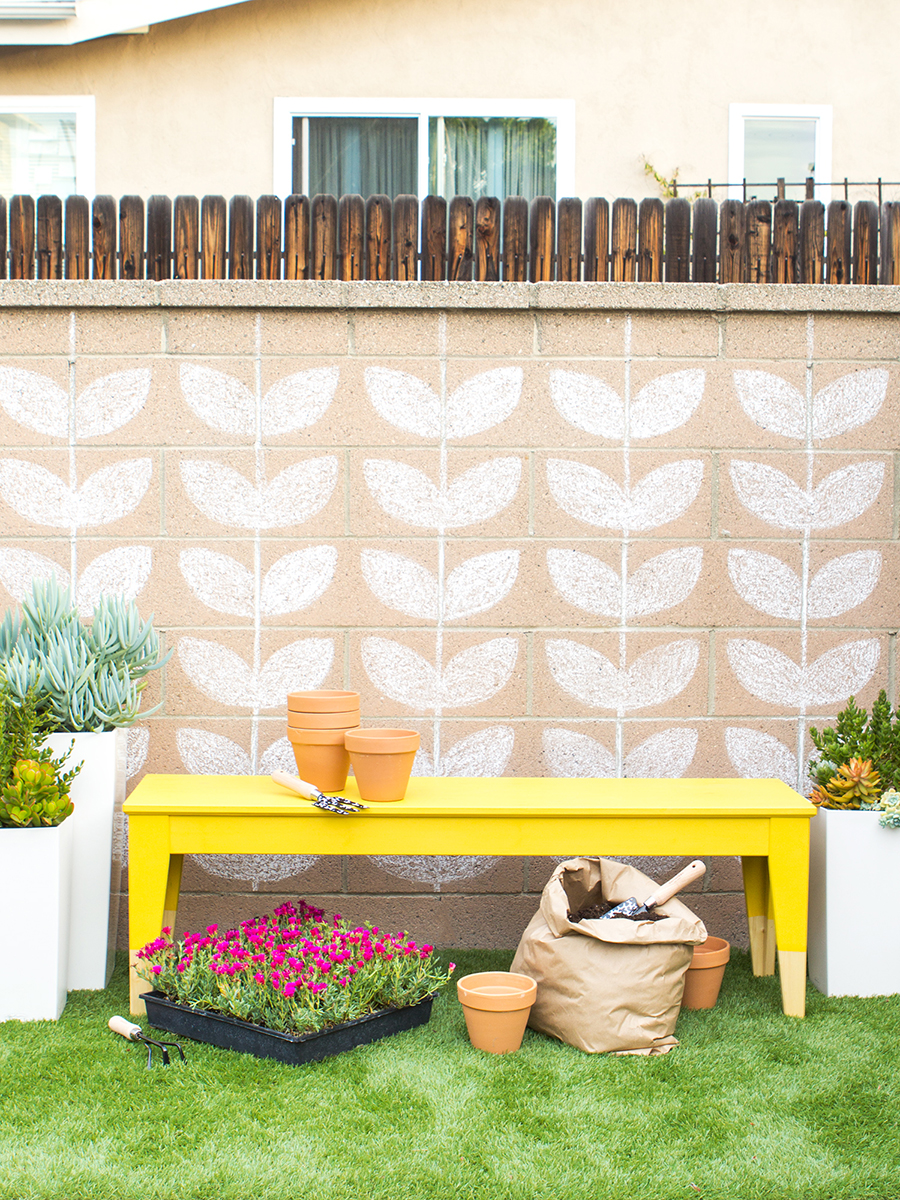 Transform a plain IKEA bench into a stylish multi-purpose outdoor piece with DecoArt Americana Outdoor paint. Click through to see the how-to for this Ikea hack!
