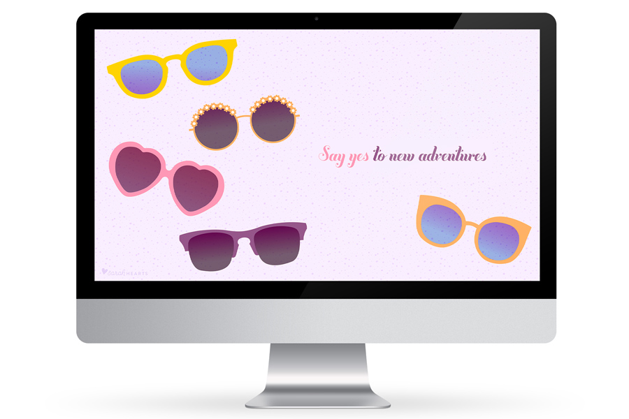 And some shades to your computer, phone or tablet with this cute free sunglasses wallpaper!