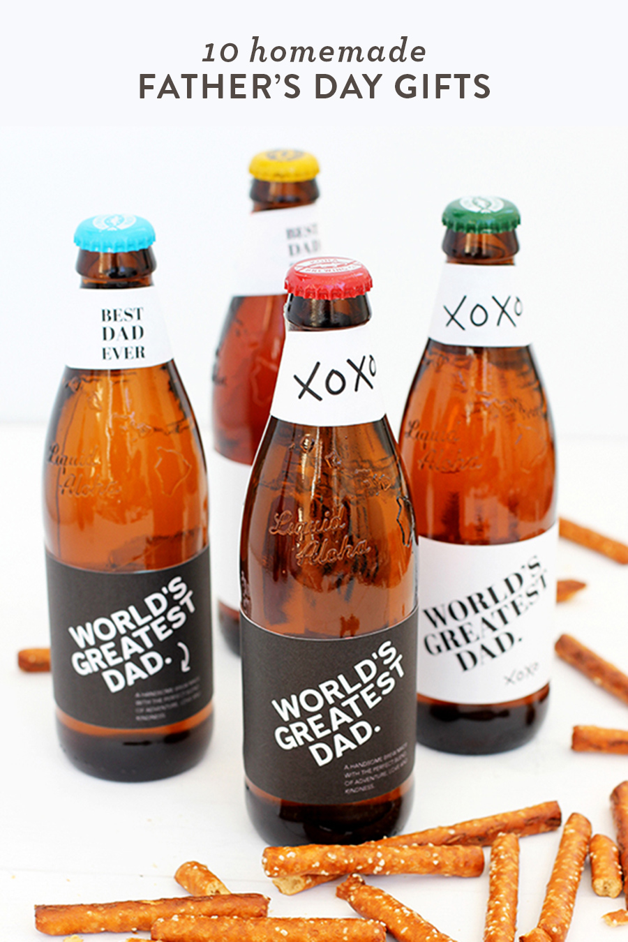 Printable Father's Day bottle labels and other DIYs for dad in this round up of 10 easy projects to make for dad on Father's Day.
