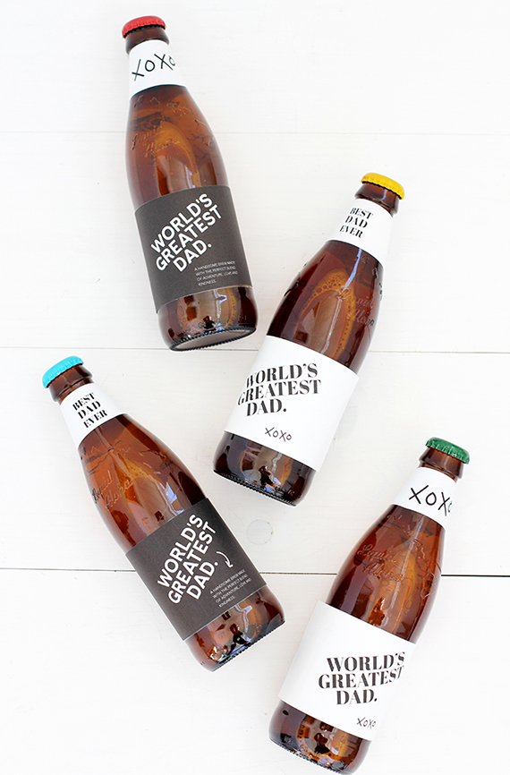 Printable Father's Day bottle labels