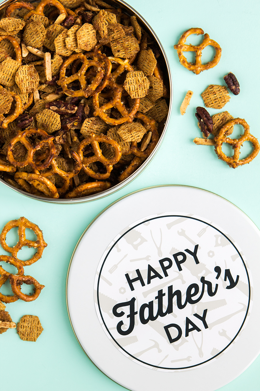 Sweet and savory snack mix with printable tin labels for Father's Day