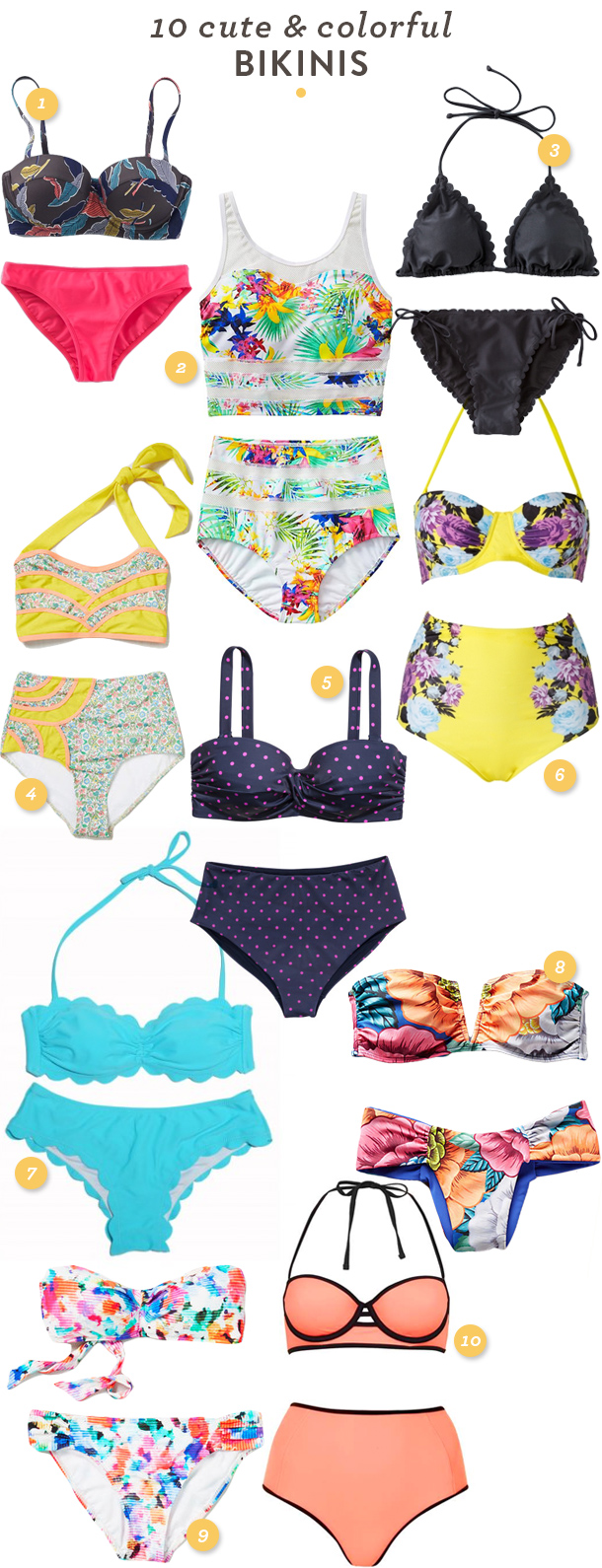 10 cute and colorful bikini swimsuits for all styles and body types