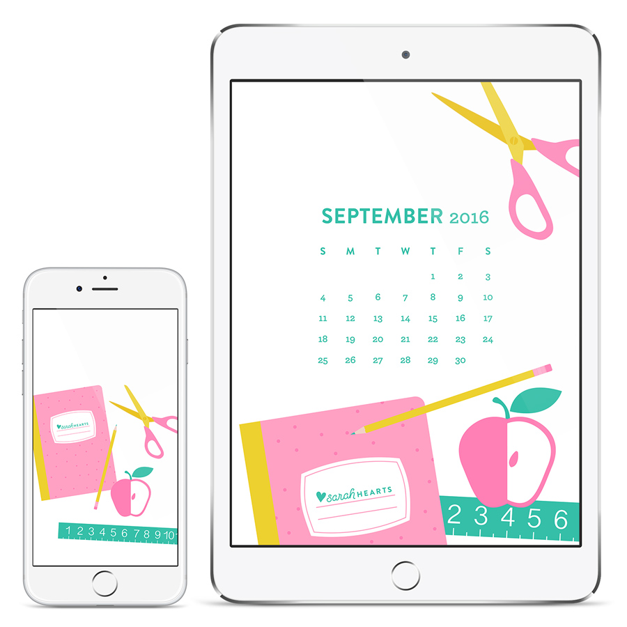 Get ready for back to school with this free September 2016 calendar wallpaper! Available for phones, tablets and computers.