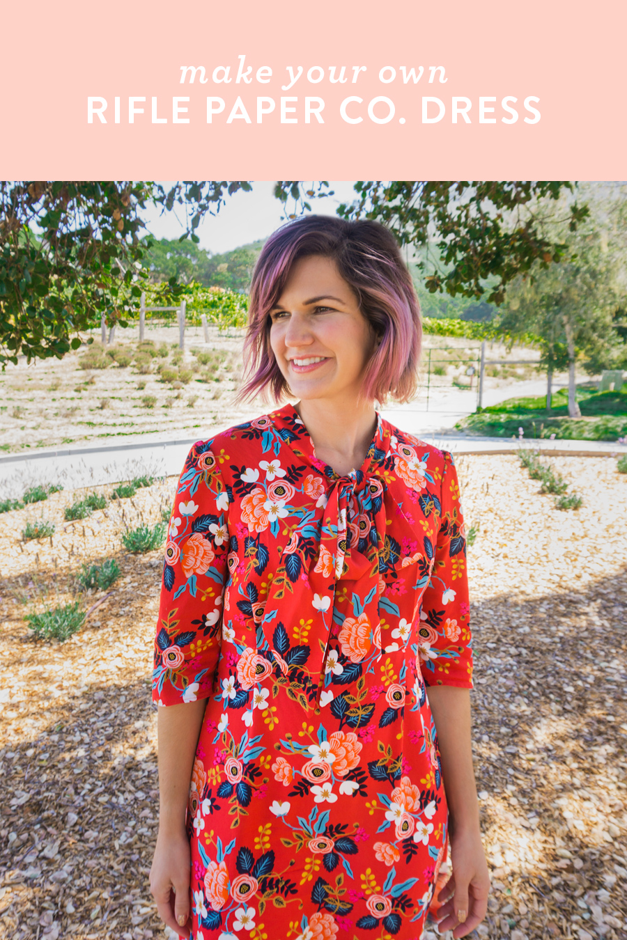 Loving this DIY Rifle Paper Co. dress made with Cotton and Steel rayon fabric and Victory Pattern's Hazel dress pattern.