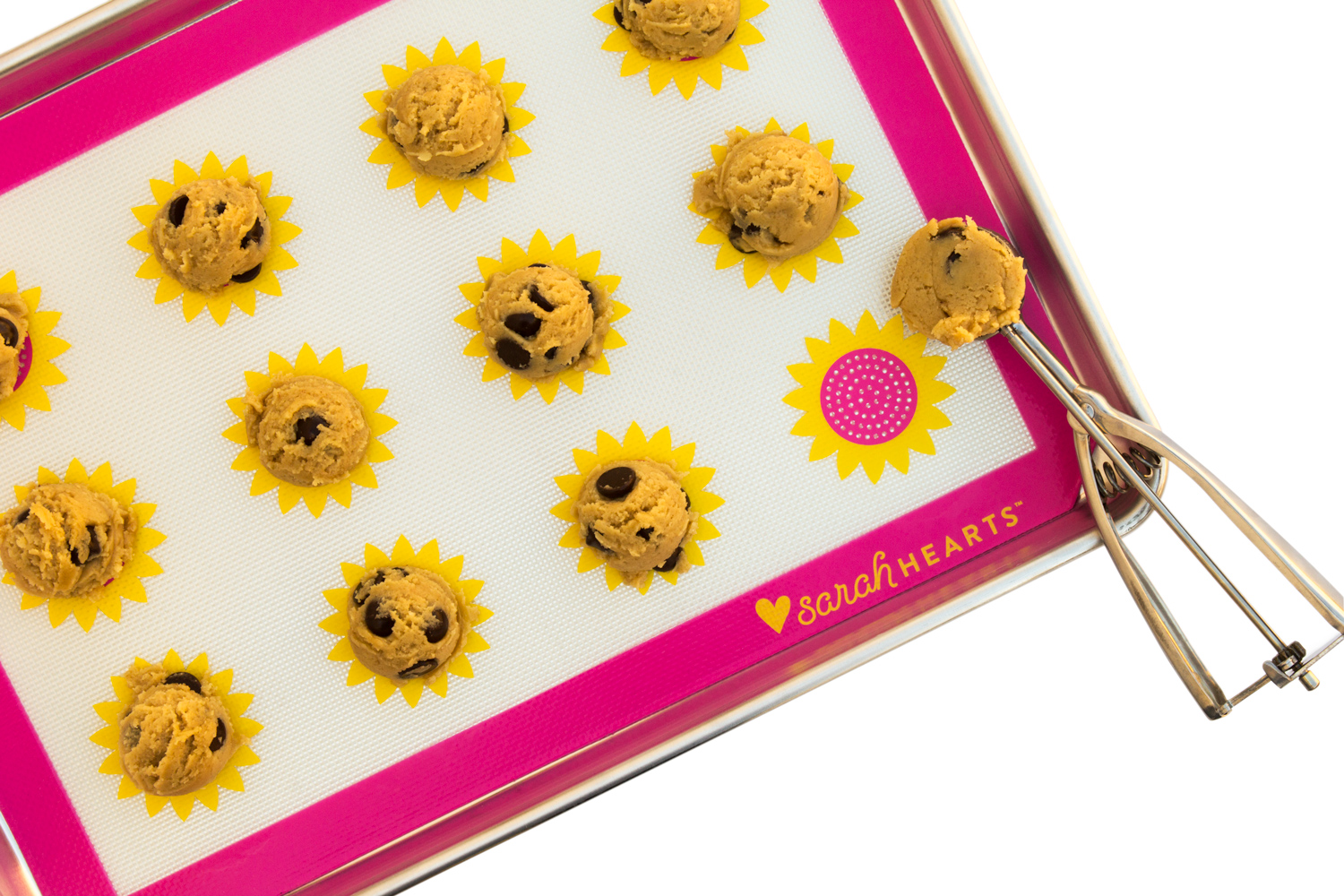 Pink and yellow sunflower non-stick silicone baking mat by Sarah Hearts