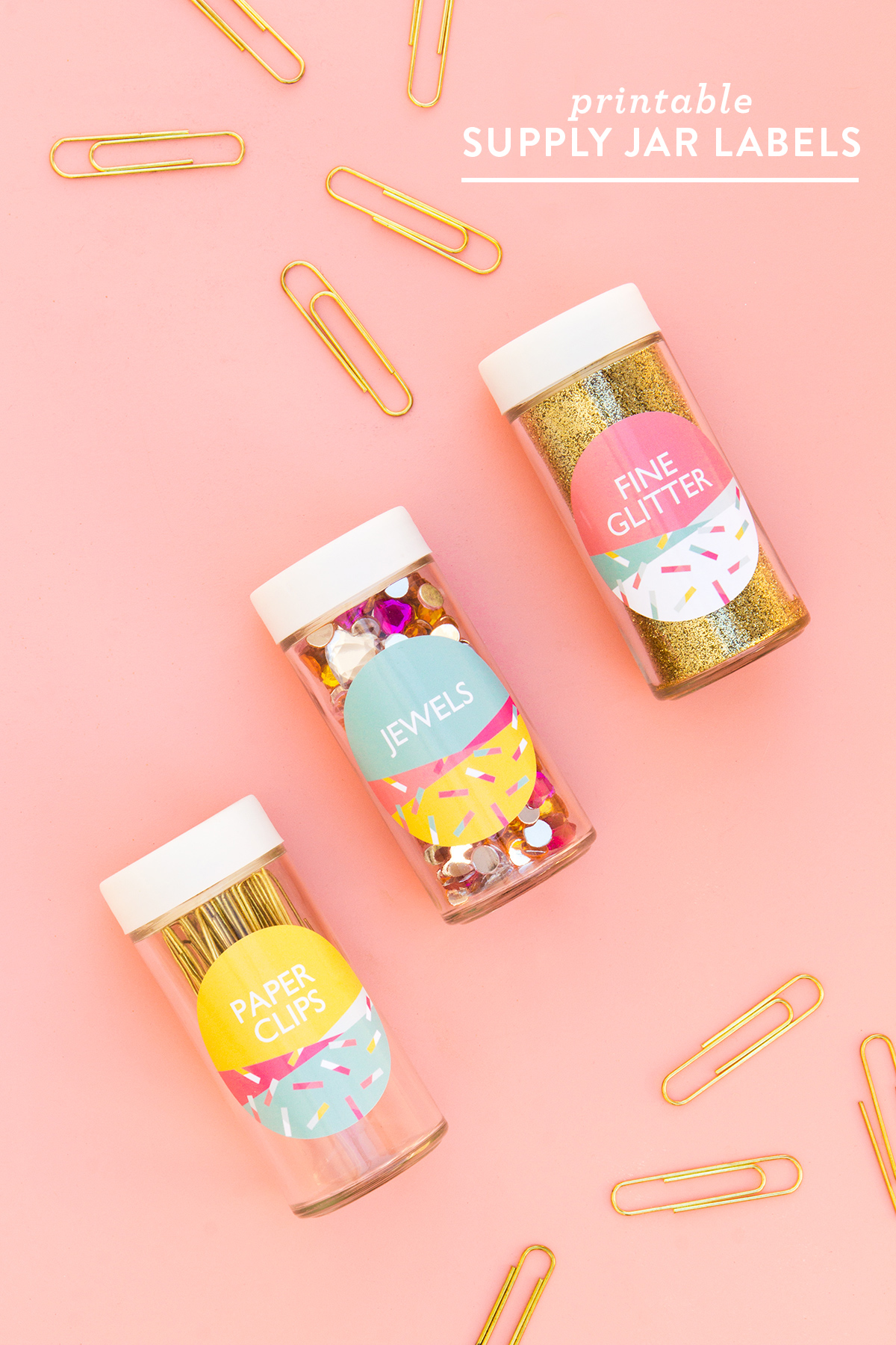 Spice jars aren't just for spices, use them with these colorful @avery labels to organize your office or craft supplies.