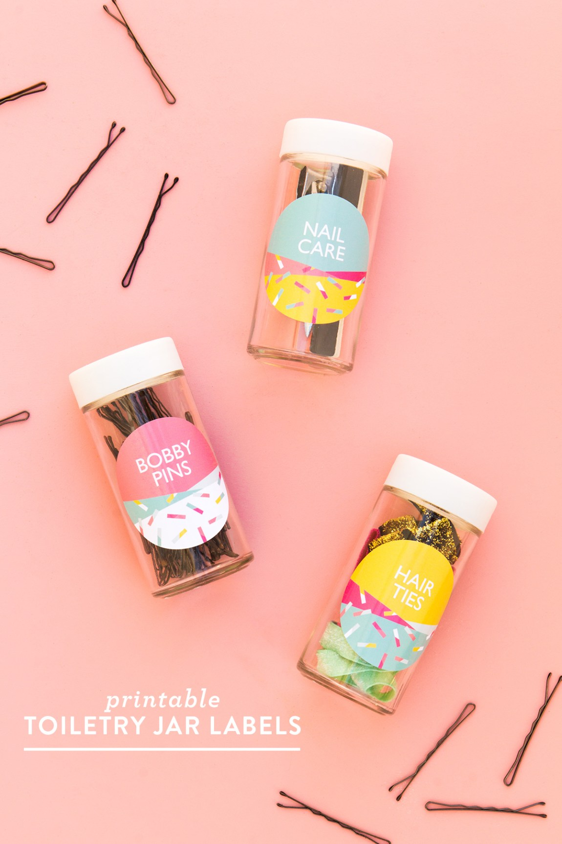 Spice jars aren't just for spices, use them with these colorful @avery labels to organize your toiletries and hair accessories.