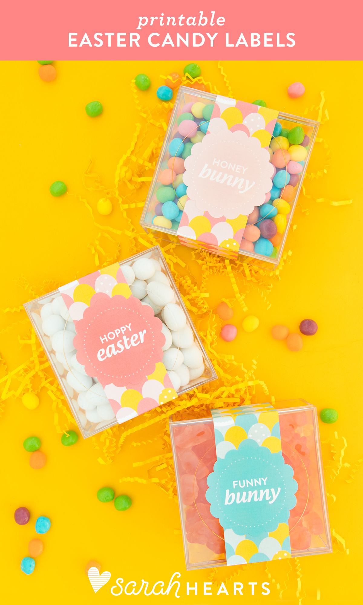 Create adorable giftable Easter candy boxes using these free printable designs with @avery labels
