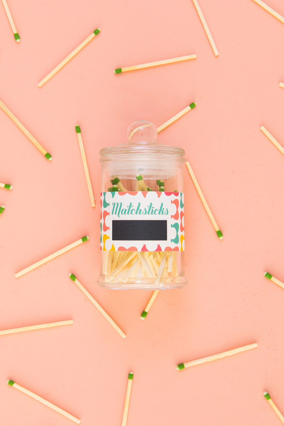 Keep matches in a jar with a cute strikeable label