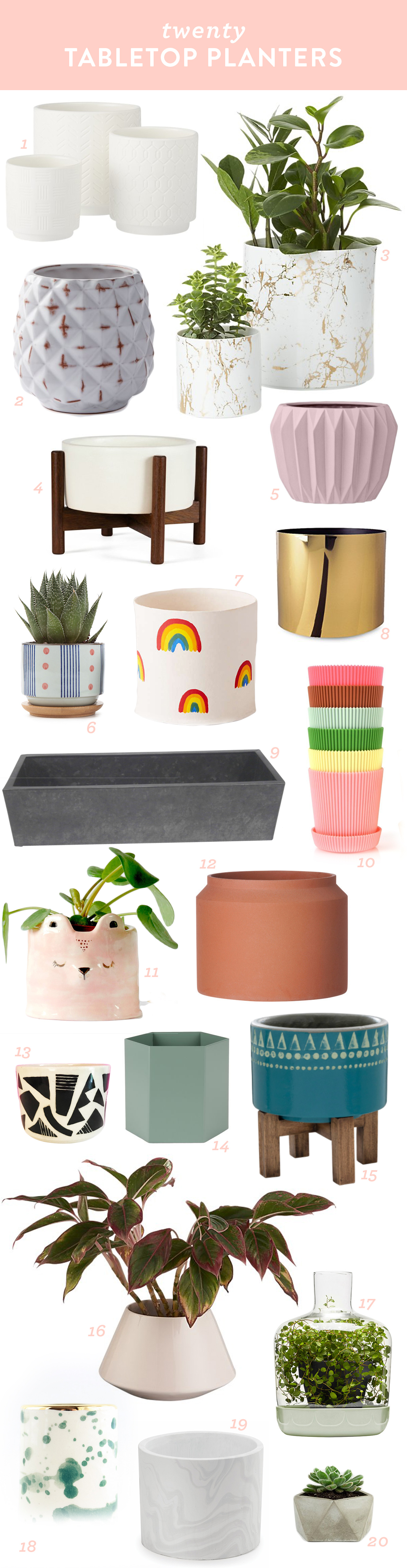 Add some greenery to your home with a houseplant in one of these pretty tabletop planters.