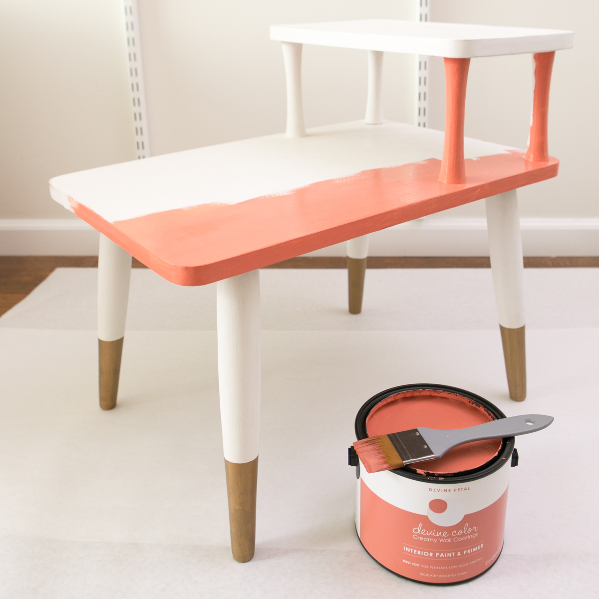 Use Devine Color paint to update the color of furniture like side tables and chairs.